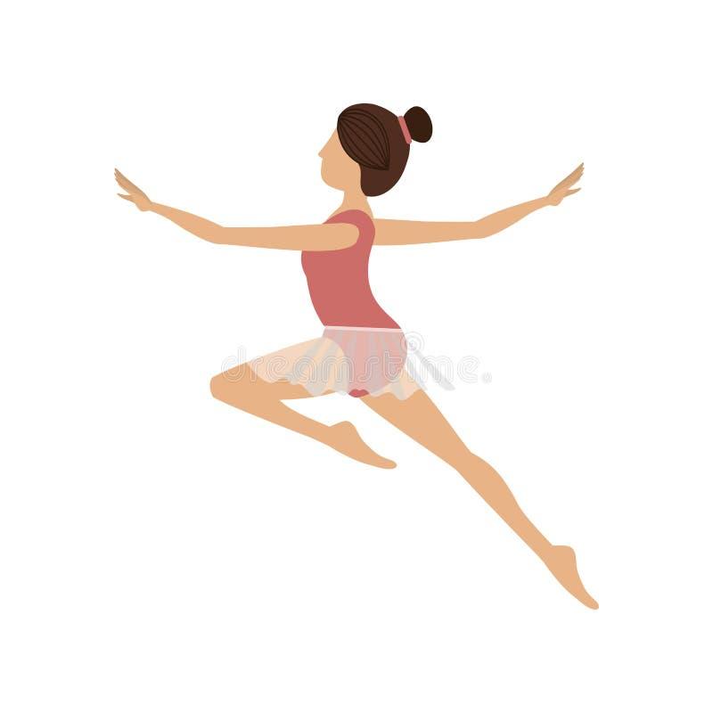 El bailarín colorido salta el segundo arabesque stock de ilustración