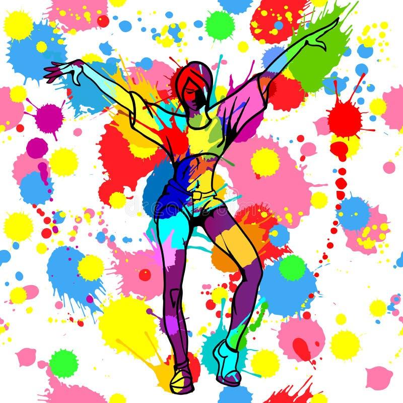 El bailarín de la muchacha con tinta y pintura coloridas salpica stock de ilustración