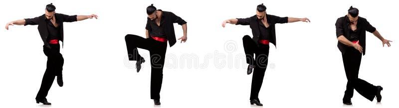 El bailarín español en diversas actitudes en blanco foto de archivo
