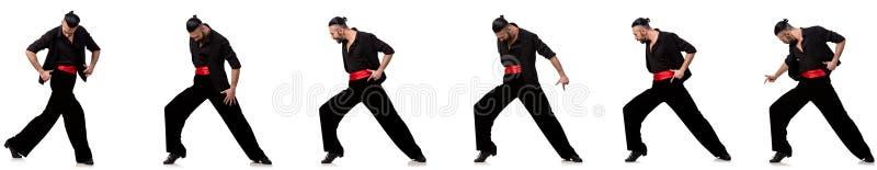 El bailarín español en diversas actitudes en blanco imagen de archivo