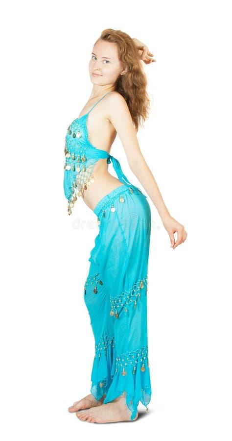 El baile de la muchacha vientre-baila foto de archivo libre de regalías