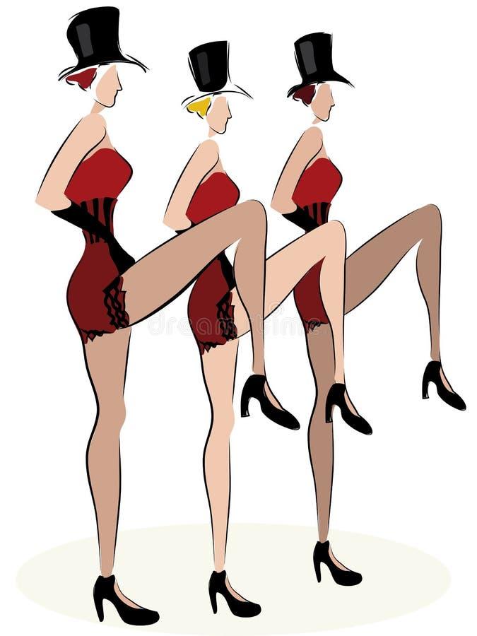 El baile de las muchachas del cabaret puede poder stock de ilustración
