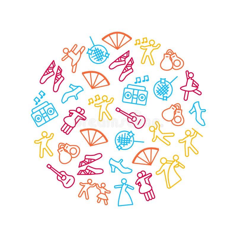 El baile firma la línea fina icono alrededor del anuncio de la plantilla del diseño Vector stock de ilustración