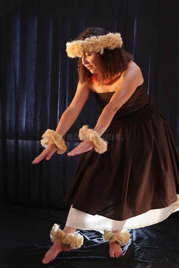 El baile hawaiano femenino sonriente de la muchacha y el canto con los instrumentos musicales les gusta el ukelele fotos de archivo