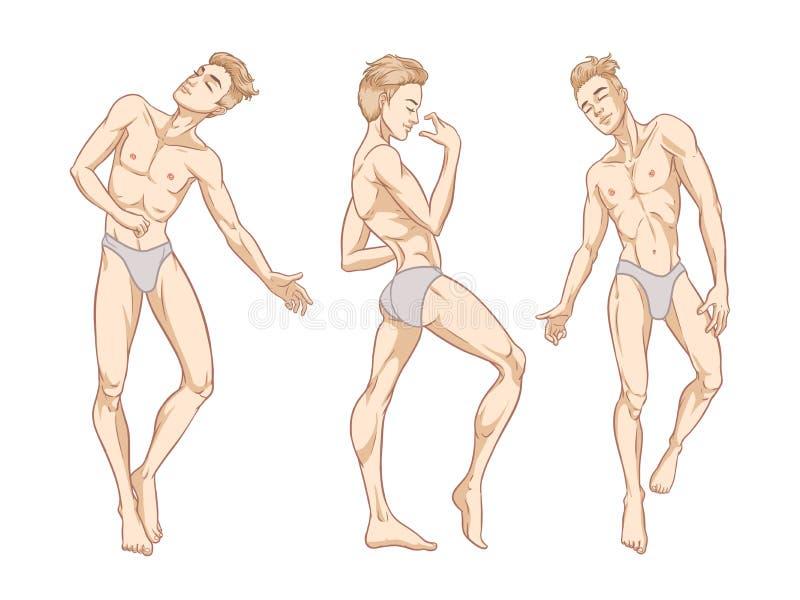 El baile hermoso atractivo de los hombres en la ropa interior, separador, ir-va muchacho, disco gay del club, ejemplo del vector ilustración del vector