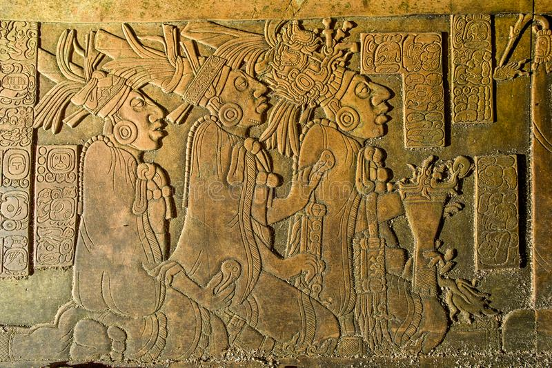 El bajorrelieve que talla en el Palenque arruina Chiapas México foto de archivo libre de regalías