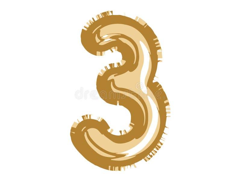 El balón de aire del número tres del oro para la fiesta de bienvenida al bebé celebra decorati ilustración del vector