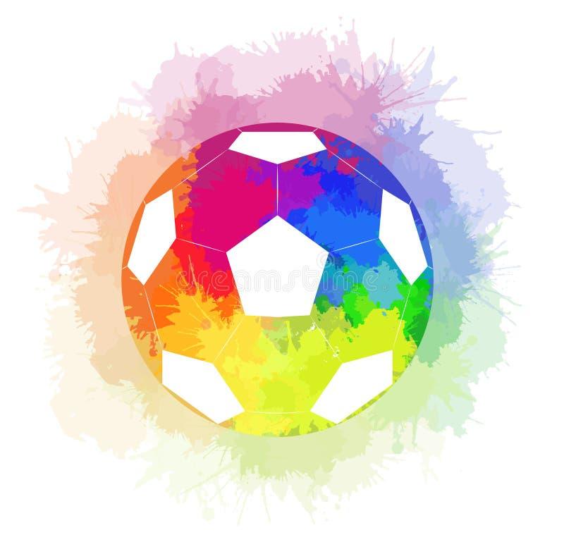 El balón de fútbol con el fondo del arco iris de la acuarela y el arco iris de la acuarela rocían ilustración del vector