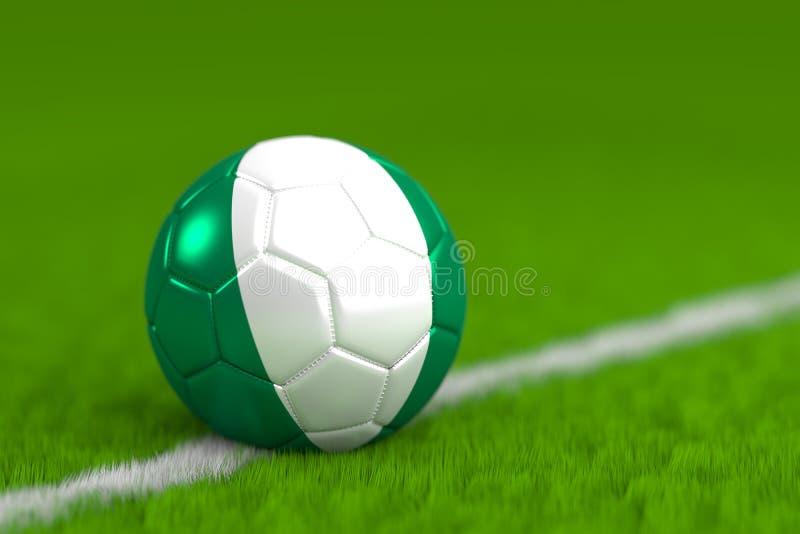 El balón de fútbol con la bandera nigeriana 3D rinde imagenes de archivo