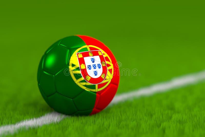 El balón de fútbol con la bandera portuguesa 3D rinde imagenes de archivo