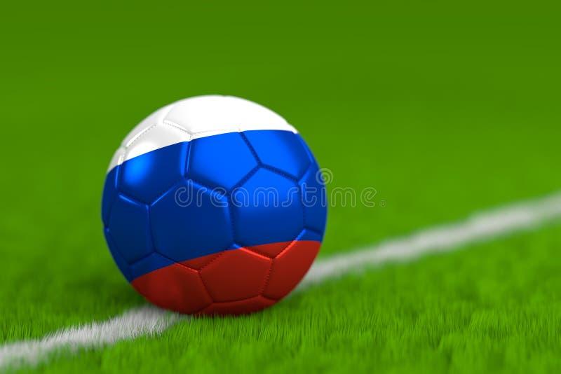 El balón de fútbol con la bandera rusa 3D rinde imagen de archivo libre de regalías