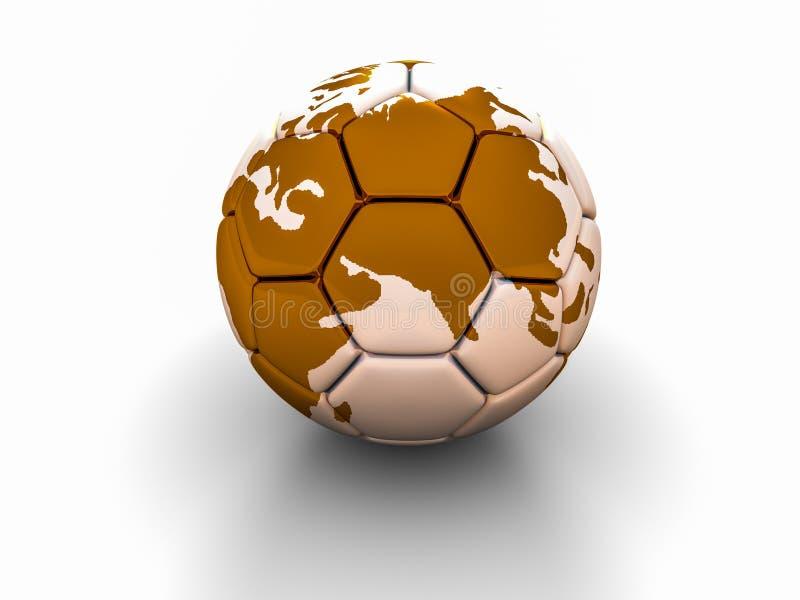 El balón de fútbol con la imagen de las partes del mundo 3d rinde ilustración del vector