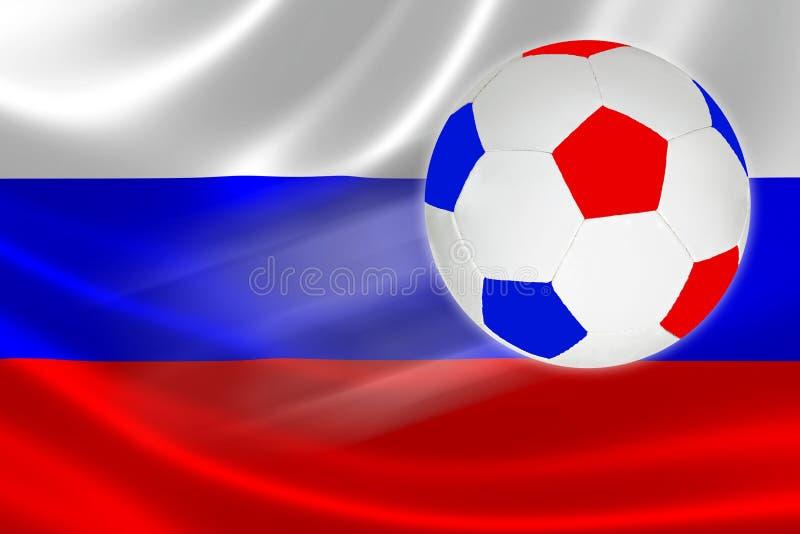 El balón de fútbol en los colores rusos de la bandera vuela a través de la bandera rusa stock de ilustración