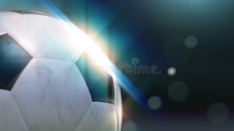 El balón de fútbol que vuela lentamente a través del agua cae con el destello, ejemplo 3d stock de ilustración