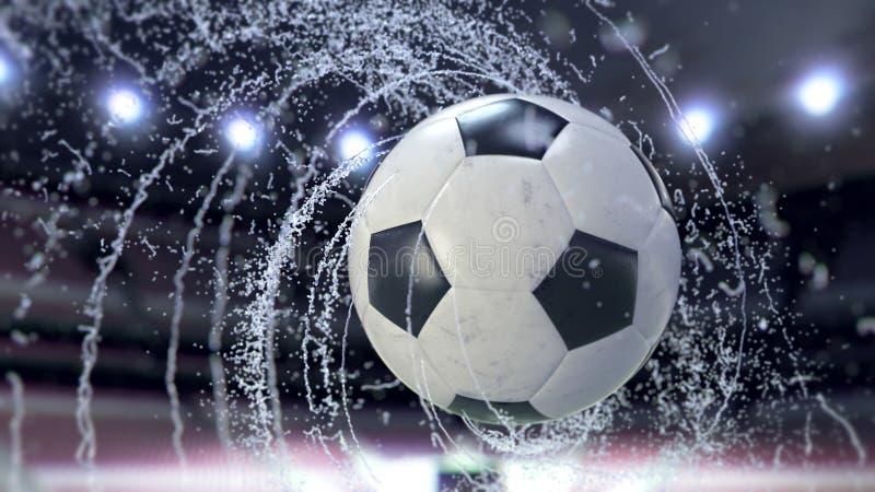 El balón de fútbol vuela emitiendo el giro de los descensos del agua, ejemplo 3d ilustración del vector