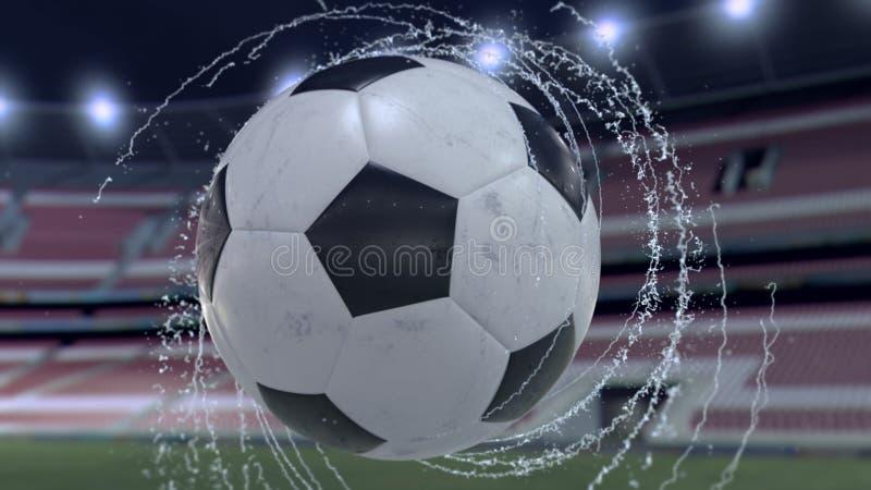 El balón de fútbol vuela emitiendo el giro de los descensos del agua, ejemplo 3d stock de ilustración