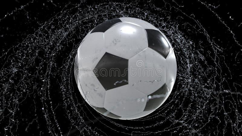 El balón de fútbol vuela emitiendo el giro de los descensos del agua, ejemplo 3d libre illustration