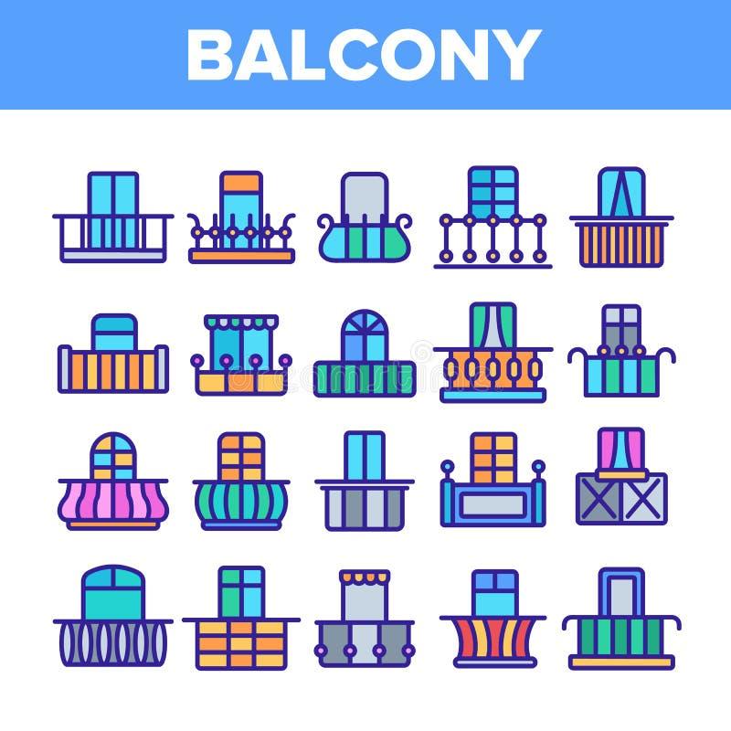 El balcón de la casa forma el sistema linear de los iconos del vector libre illustration