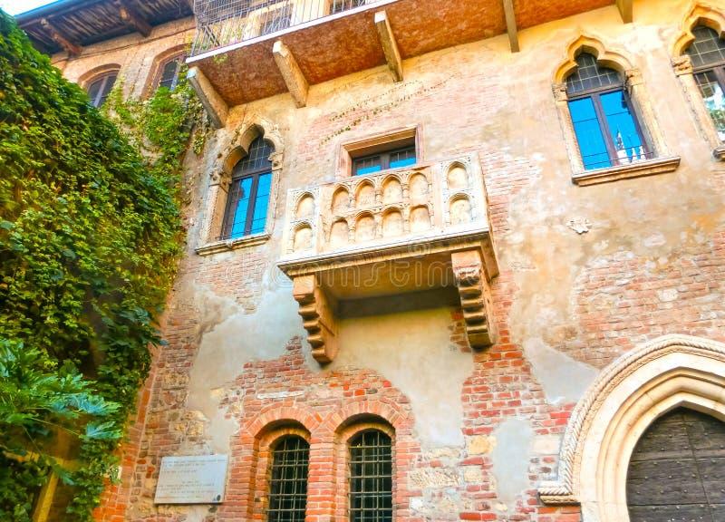 El balcón famoso de Juliet en Verona, Italia imagen de archivo libre de regalías