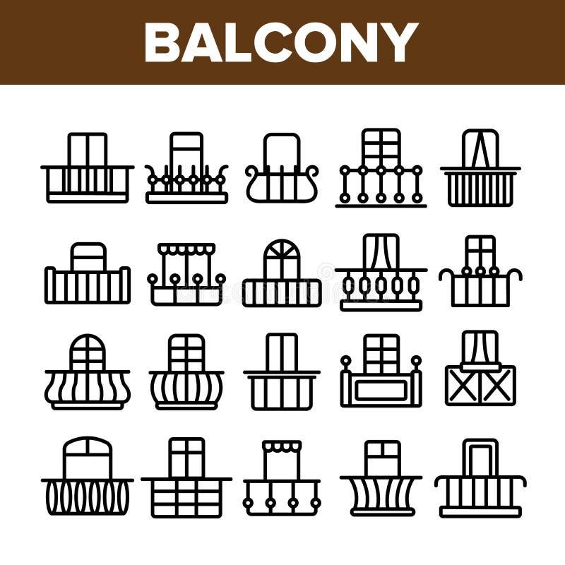 El balc?n de la casa forma el sistema linear de los iconos del vector ilustración del vector