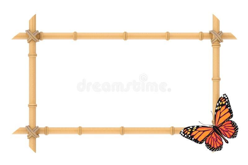 El bambú de madera pega la plantilla del marco con la mariposa representación 3d stock de ilustración