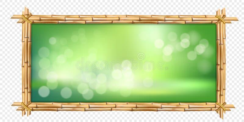 El bambú marrón del rectángulo pega el marco con el fondo borroso verde stock de ilustración