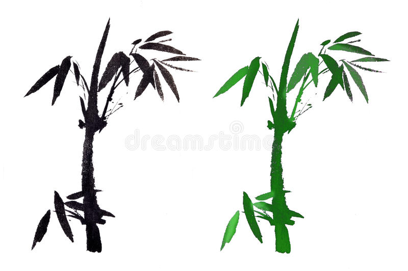 El bambú pintado a mano chino antiguo tradicional stock de ilustración