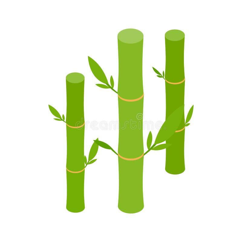 El bambú verde proviene el icono, estilo isométrico 3d stock de ilustración