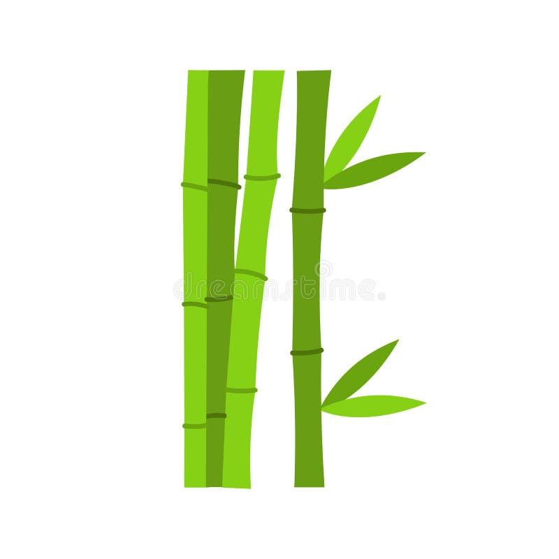 El bambú verde proviene el icono, estilo plano stock de ilustración