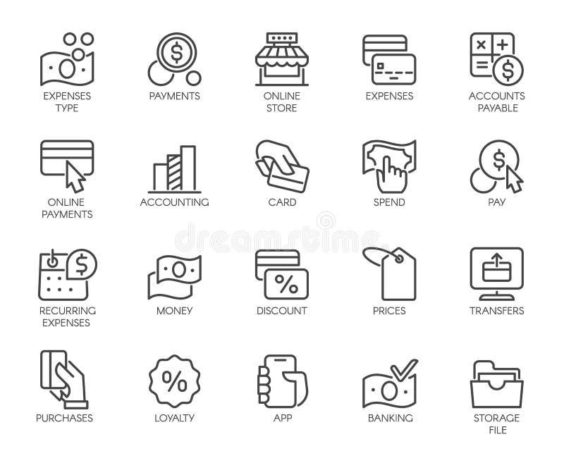 El banco, financiero, económico, pago fijó iconos Crédito y tarjetas de débito, sistema de Nfc, moneda, dinero, línea etiquetas d ilustración del vector