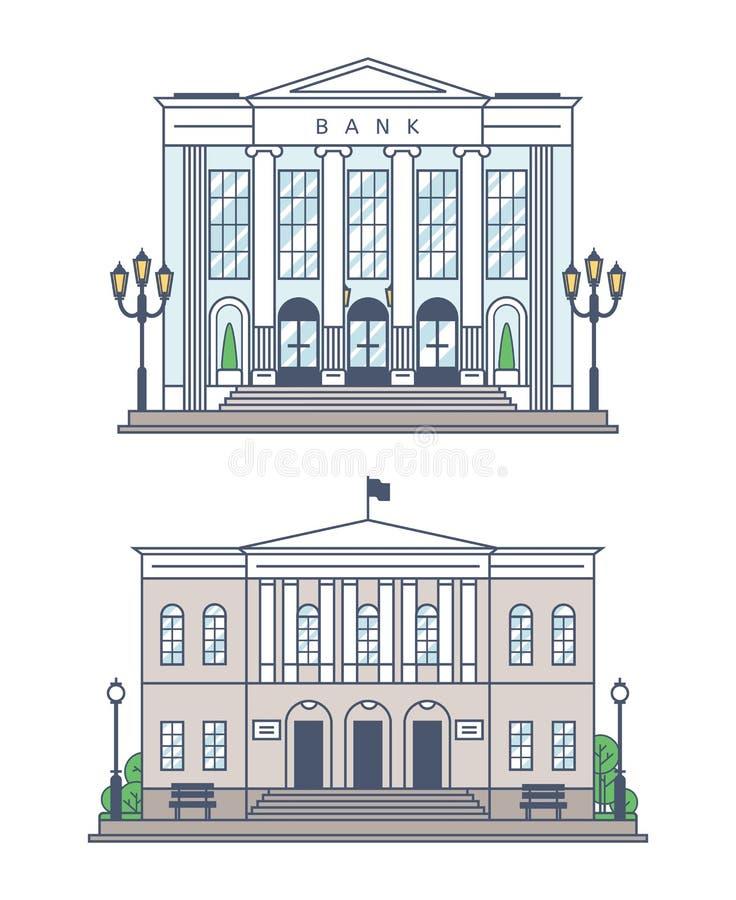 El banco y el edificio de la administración ilustración del vector