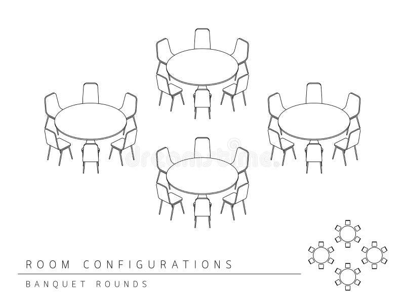 El banquete de la configuración de la disposición de la disposición de la sala de reunión redondea estilo libre illustration