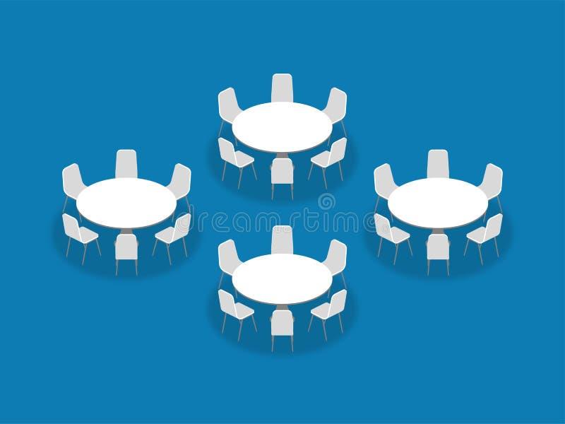 El banquete de la configuración de la disposición de la disposición de la sala de reunión redondea isométrico stock de ilustración