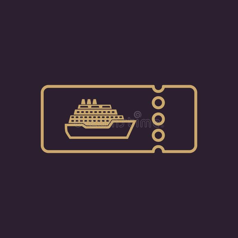 El barco de cruceros marca el icono Símbolo del viaje stock de ilustración