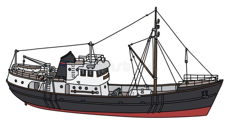 El barco de motor negro ilustración del vector