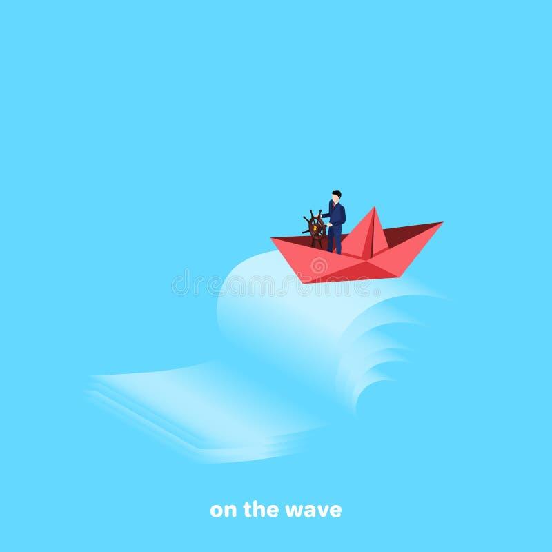 El barco de papel rojo con el capitán en el timón supera las ondas que rabian ilustración del vector