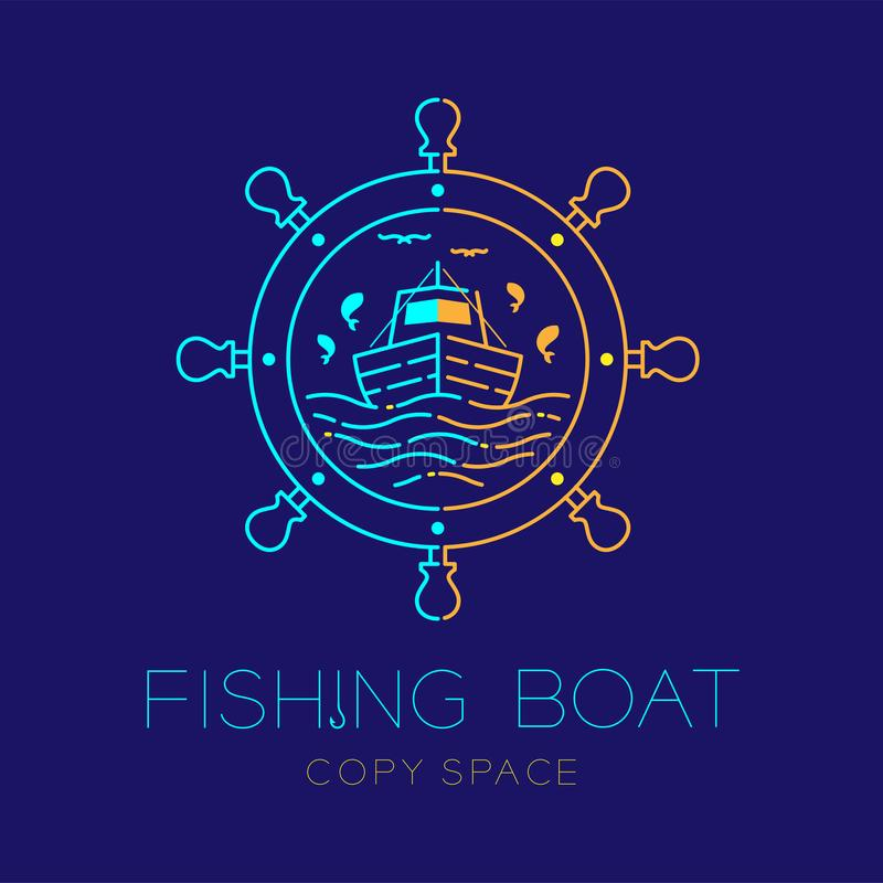 El barco de pesca, los pescados, la gaviota, la onda y línea determinada de la rociada del movimiento del esquema del icono del l ilustración del vector
