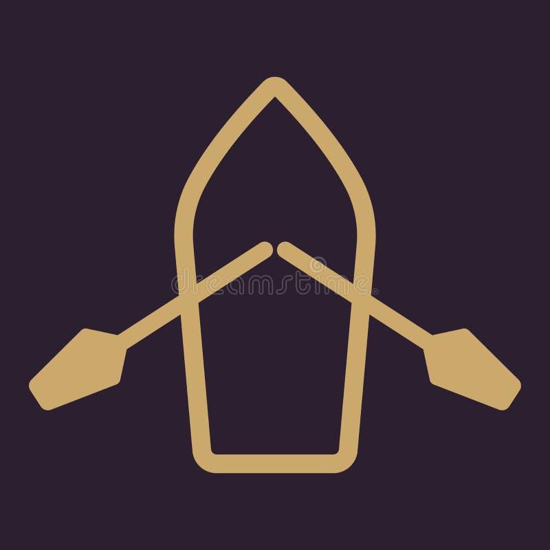 El barco y el icono de los remos Símbolo del esquife y de la paleta plano libre illustration