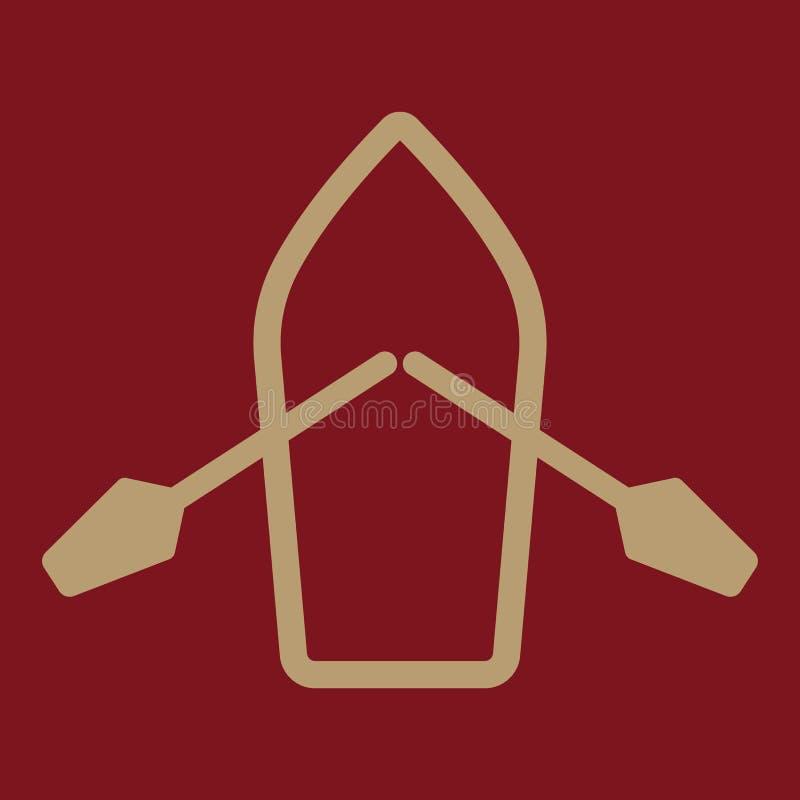 El barco y el icono de los remos Símbolo del esquife y de la paleta plano ilustración del vector