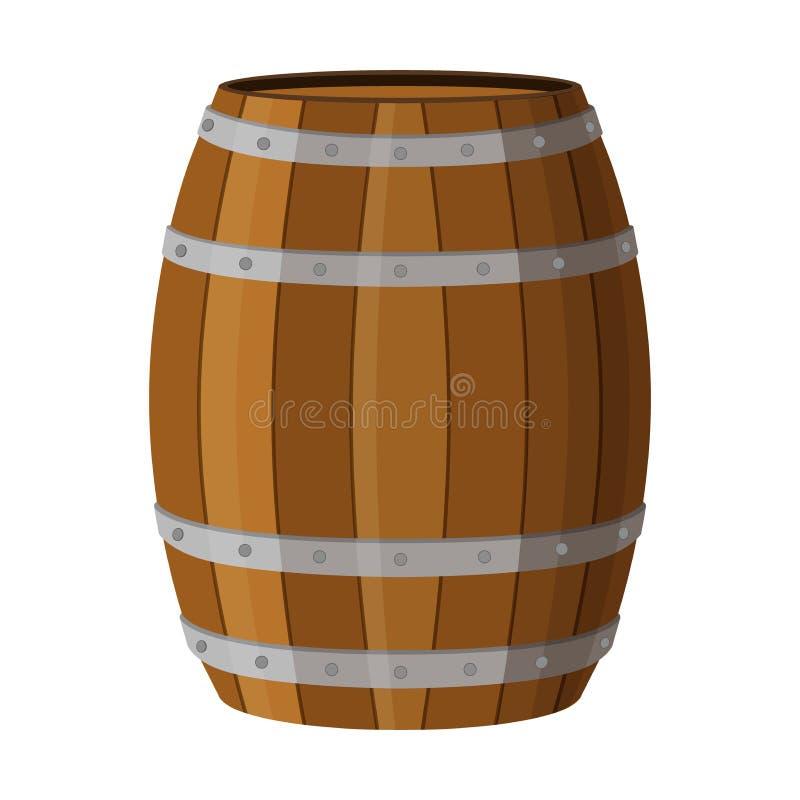 El barril de madera con alcohol bebe el ron, brandy, tequila, licor, stock de ilustración