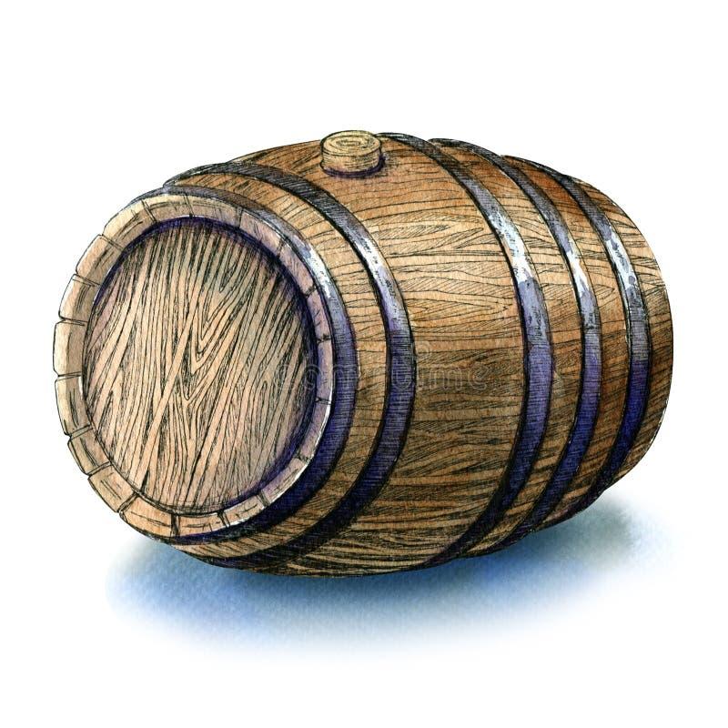 El barril de madera del roble aisló el ejemplo de la acuarela en el fondo blanco libre illustration