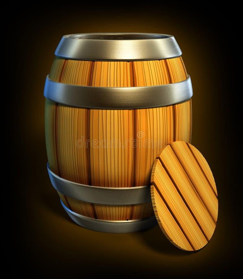 El barril de madera para el almacenaje del vino y de la cerveza aisló ilustración del vector