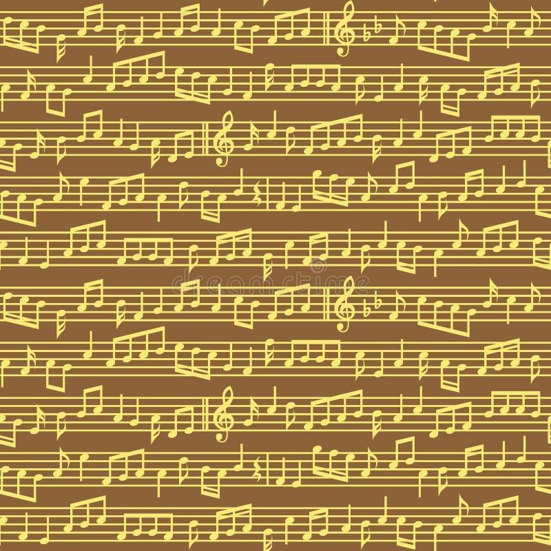 El bastón con música observa el modelo inconsútil Brown y las notas de oro de la música del vector cubren el modelo inconsútil stock de ilustración