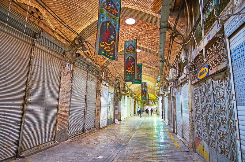 El bazar magnífico cerrado en Teherán foto de archivo