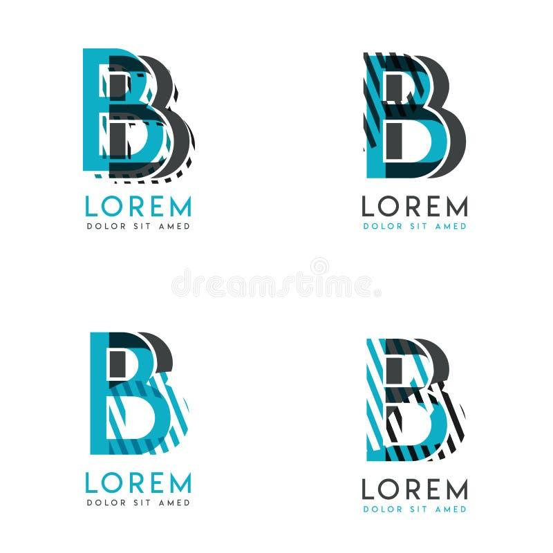 El BB Logo Set del diseño gráfico moderno abstracto Azul y gris con rayas verticales y puntos Este logotipo es perfecto para las  ilustración del vector