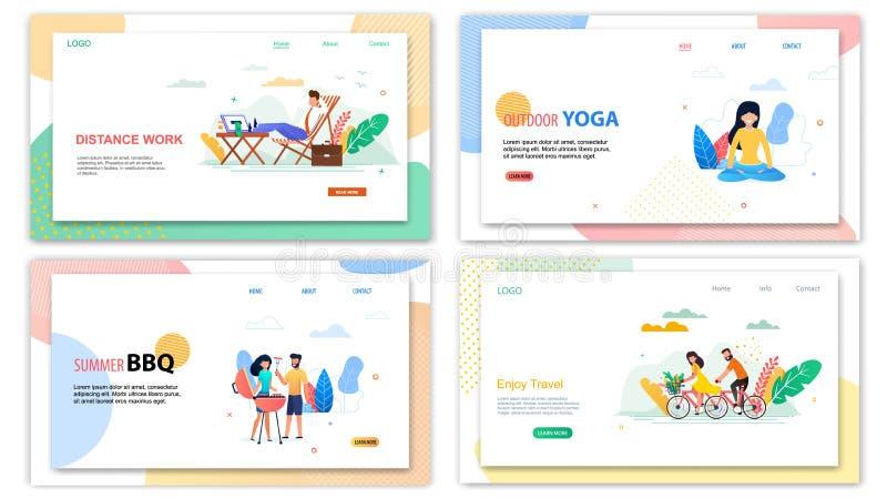 El Bbq al aire libre del verano de la yoga del trabajo de la distancia disfruta de viaje ilustración del vector