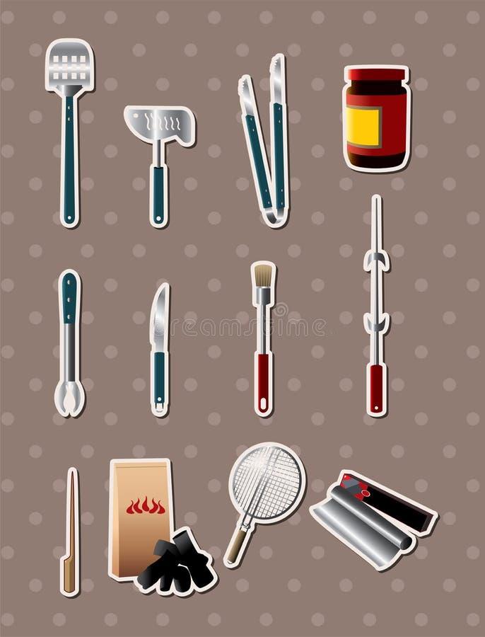 El Bbq filetea etiquetas engomadas stock de ilustración
