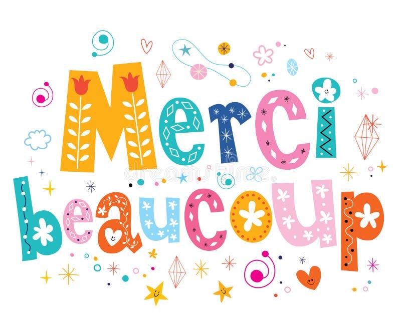 El beaucoup de Merci le agradece mucho en diseño de letras francés libre illustration