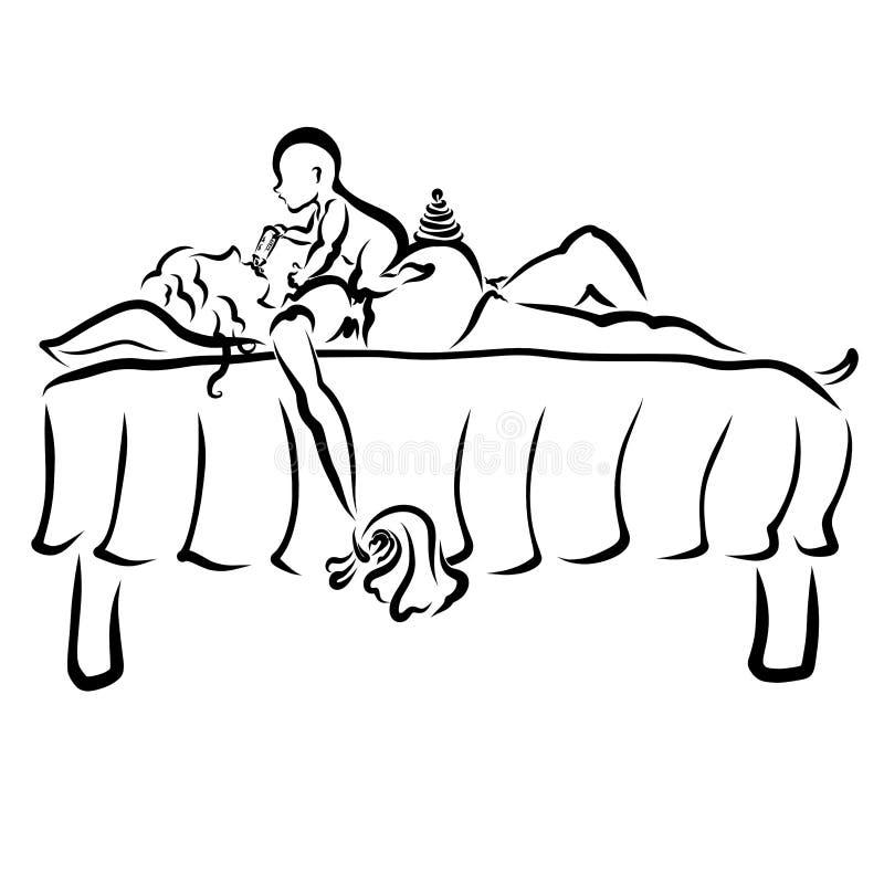 El bebé alimenta a la madre embarazada durmiente de su botella, se cayó dormido con un trapo para limpiar en su mano libre illustration