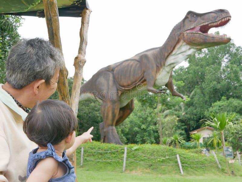El bebé asiático, así como su abuela, gozó el mirar de un dinosaurio fotografía de archivo